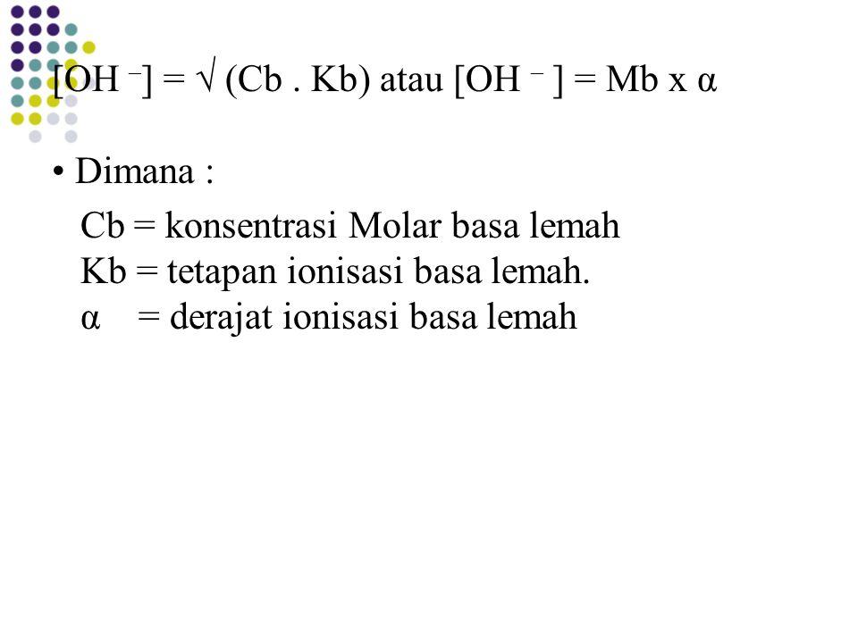 [OH –] = √ (Cb .
